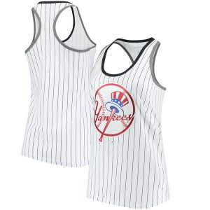 New York Yankees New Era Women's Pinstripe Racerback Tank Top – White/Navy