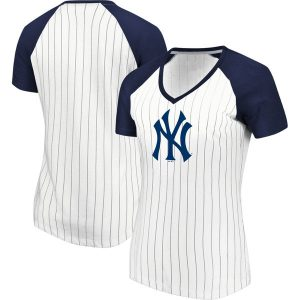 NY Yankees Majestic Women's Every Aspect Pinstripe Raglan V-Neck T-Shirt