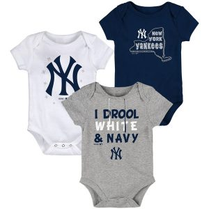 NY Yankees Newborn/Infant Big Time Fan Three-Pack Bodysuit Set – Navy/White/Gray
