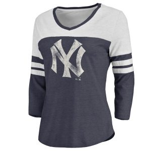 NY Yankees Women's Cooperstown Two Tone Three-Quarter Sleeve Tri-Blend T-Shirt
