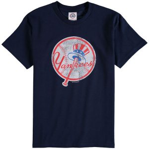 New York Yankees Youth Distressed Logo T-Shirt – Navy Blue
