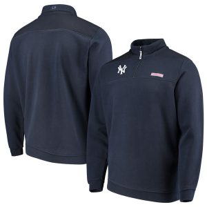 Vineyard Vines NY Yankees Navy Shep Shirt Quarter-Zip Pullover