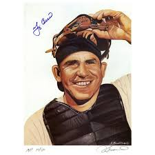 Yogi Berra Signed James Fiorentino Color 13×17 Lithograph