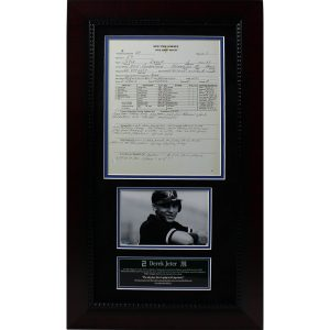 Derek Jeter 13×23 Framed Scouting Report Collage with Black & White Photo