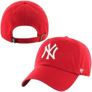 '47 Brand New York Yankees Red Basic Logo Clean Up Adjustable Hat