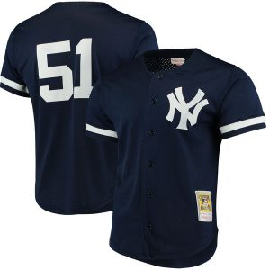 Bernie Williams New York Yankees Navy Fashion Cooperstown Collection Mesh Batting Practice Jersey