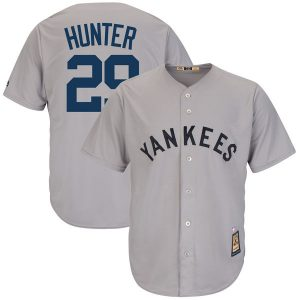 Majestic Catfish Hunter New York Yankees Gray Cooperstown Collection Cool Base Replica Player Jersey