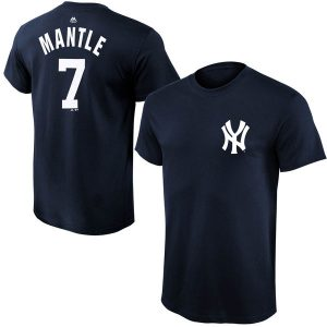 Mickey Mantle New York Yankees Youth Navy Blue Cooperstown Collection Name & Number T-Shirt