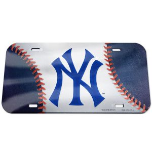 New York Yankees Ball Crystal Mirror License Plate