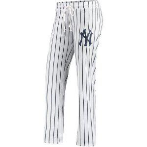 New York Yankees Women's White Vigor Pinstripe Sleep Pants
